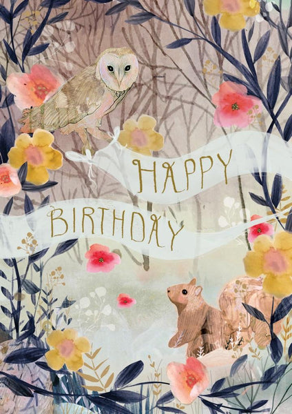 Birthday Card Squirrel and Owl