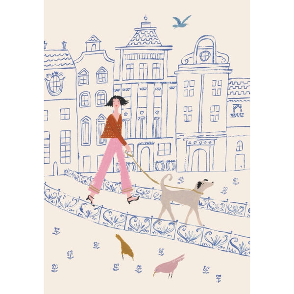 Greeting Card Walking Dog