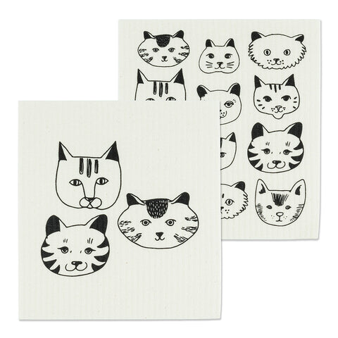 Swedish Dishcloth Simple Cat Faces -Set of 2