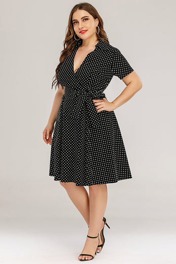 Plus Size Polka Dots Swing Klänning