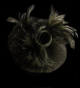 Fascinator clips nero piume