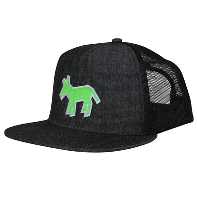 Street Art Donkey Patch - Green White - Denim Hat