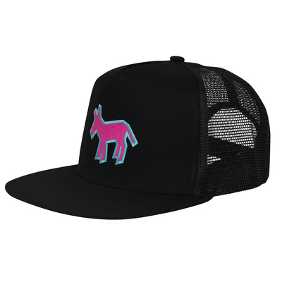 Street Art Donkey Patch - Aqua Pink - Black Hat