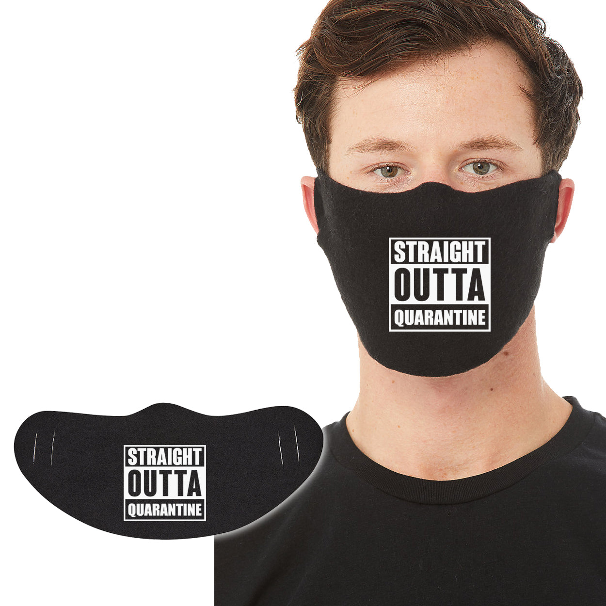 Cotton Face Mask 1P - Straight Outta Quarantine - DonkeyTees