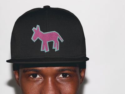 Street Art Donkey Patch - Aqua Pink - Denim Hat