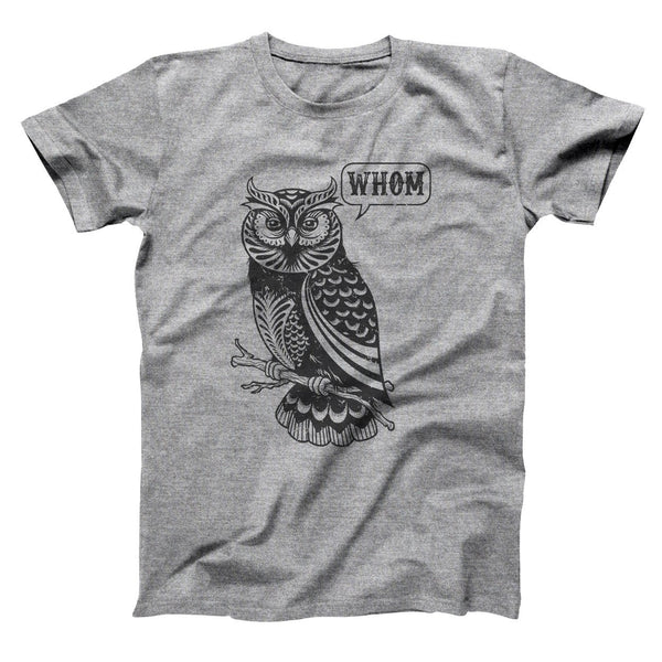 Whom Owl Grammar English Teacher Editor Men's T-Shirt - Donkey Tees