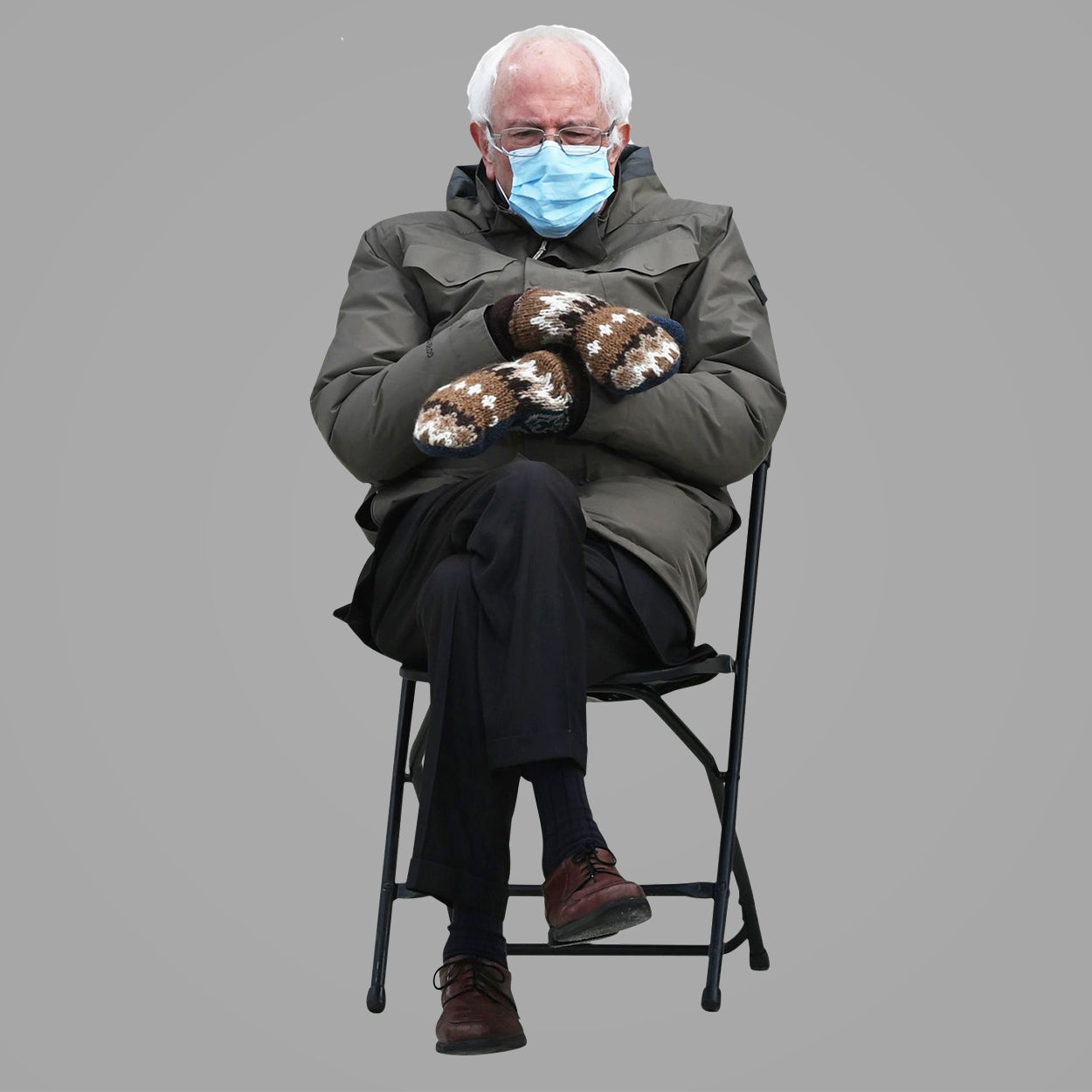 Bernie Sitting in the Cold with Mittens Meme