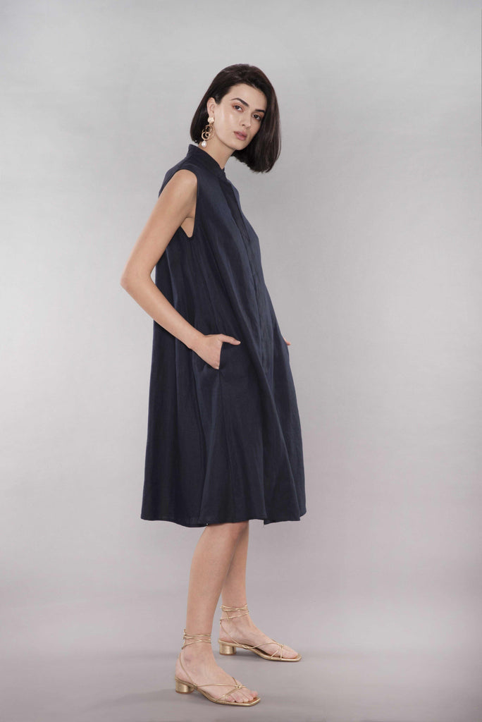 Navy Midi Linen Dress - Muta studio