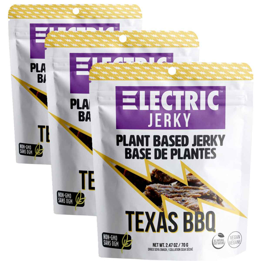 3 bags of ELECTRIC Smoked Texas BBQ Plant Based Jerky