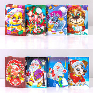 5D Diamond Painting Gift Christmas Greeting Cards(8 Pieces)