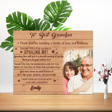 Load image into Gallery viewer, Custom Family Photo Wall Decor Painting Canvas With Text - To Best Grandpa