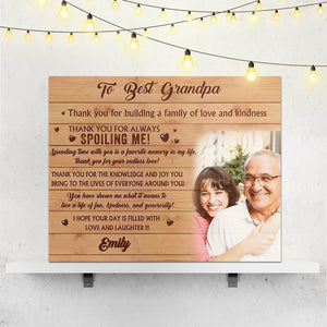 Custom Family Photo Wall Decor Painting Canvas With Text - To Best Grandpa