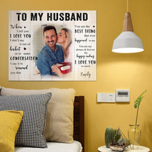 Load image into Gallery viewer, Custom Love Photo Wall Decor Painting Canvas With Text - To My Husband