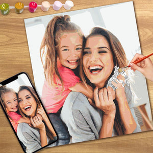 DIY Paint by Numbers, Custom Mother and Daughter Photo Wall Decor Oil Painting Canvas