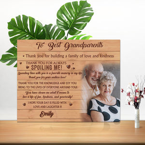 Custom Family Photo Wall Decor Painting Canvas With Text - To Best Grandparents