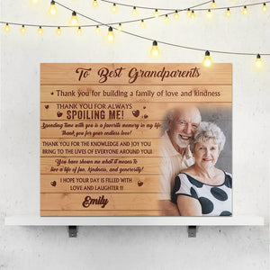 Custom Photo Wall Decor Painting Canvas With Text Personalized Gift- To Best Grandparents