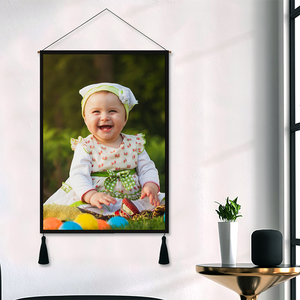 Custom Father and Child Photo Tapestry - Wall Decor Hanging Fabric Painting Hanger Frame Poster