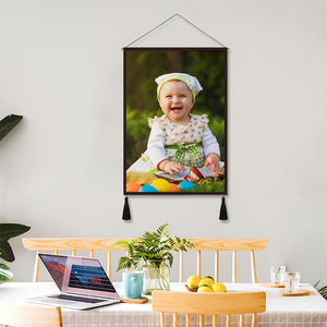 Custom Father and Daughter Photo Tapestry - Wall Decor Hanging Fabric Painting Hanger Frame Poster