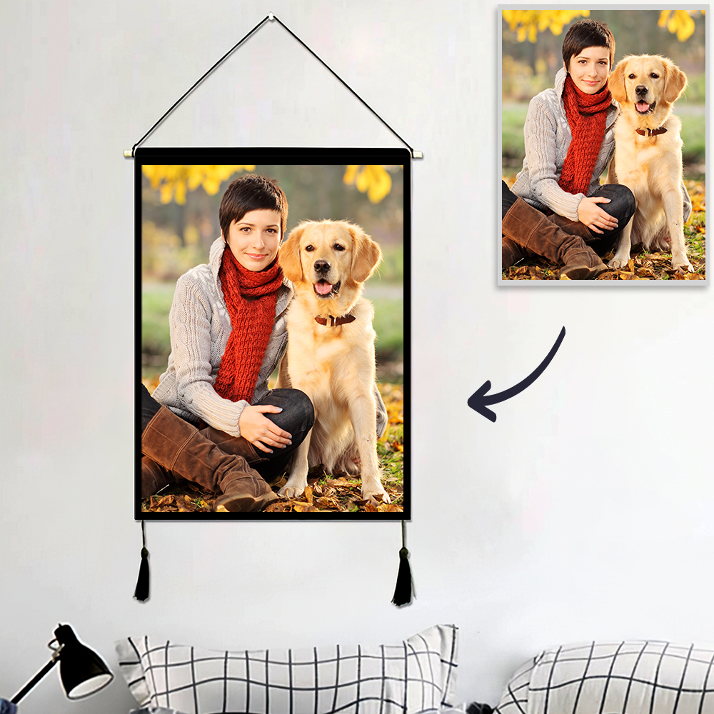 Custom Pet Photo Tapestry - Wall Decor Hanging Fabric Painting Hanger Frame Poster