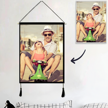 Load image into Gallery viewer, Custom Father and Daughter Photo Tapestry - Wall Decor Hanging Fabric Painting Hanger Frame Poster