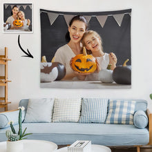 Load image into Gallery viewer, Halloween Sale Custom Family Photo Tapestry Short Plush Wall Decor Hanging Painting