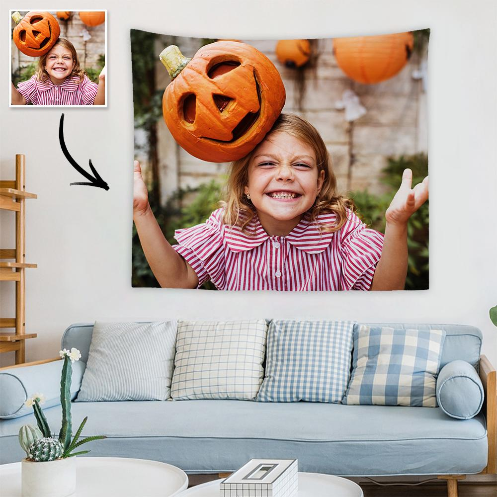 Halloween Sale Custom Child Photo Tapestry Short Plush Wall Decor Hanging Painting Gift