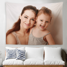 Load image into Gallery viewer, Custom Mother and Daughter Photo Tapestry Short Plush Wall Decor Hanging Painting