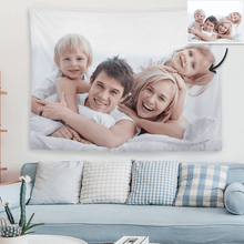 Load image into Gallery viewer, Custom Family Photo Tapestry Short Plush Wall Decor Hanging Painting