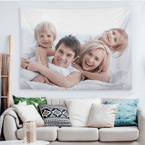 Halloween Sale Custom Family Photo Tapestry Short Plush Wall Decor Hanging Painting