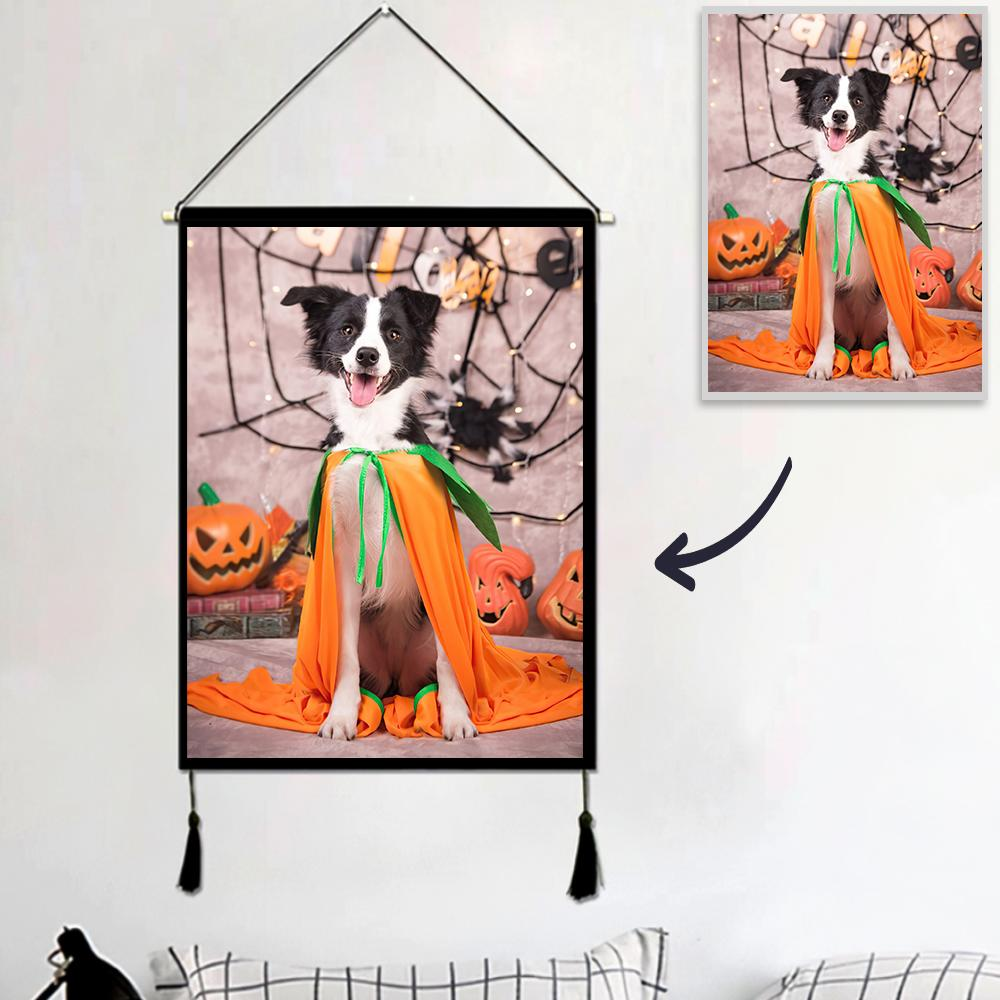 Halloween Custom Pet Photo Tapestry - Wall Decor Hanging Fabric Painting Hanger Frame Poster