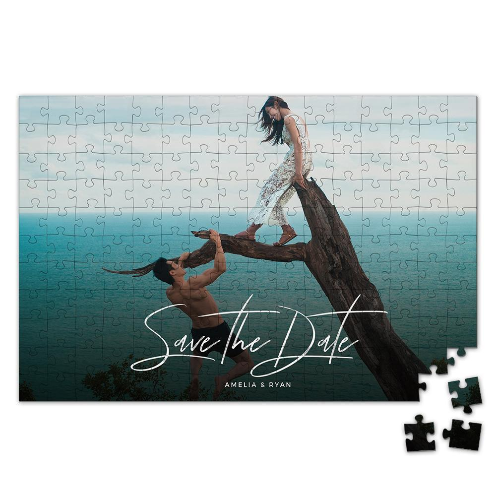 Personalized Photo Jigsaw Puzzle Save The Date Valentine's Day Gift - 35-500 pieces