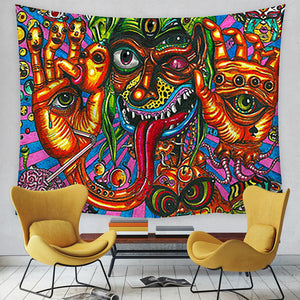 Psychedelic Sun and Moon Tapestry, Wall Decor Hanging Tapestry
