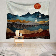 Load image into Gallery viewer, Mountain Sunset Tapestry, Wall Decor Hanging Tapestry