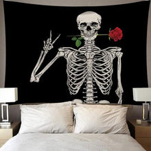 Load image into Gallery viewer, Skull Kiss of Death Tapestry, Wall Decor Hanging Tapestry