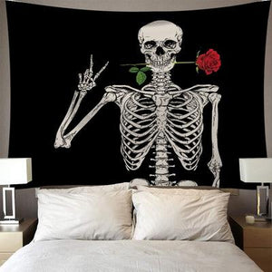Skull Kiss of Death Tapestry, Wall Decor Hanging Tapestry