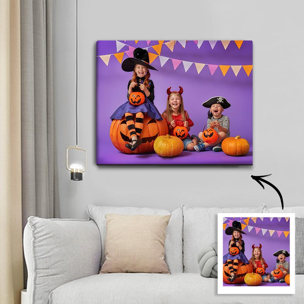 Halloween Custom Child Photo Wall Decor Painting Canvas Trick Or Treat Unique Gift
