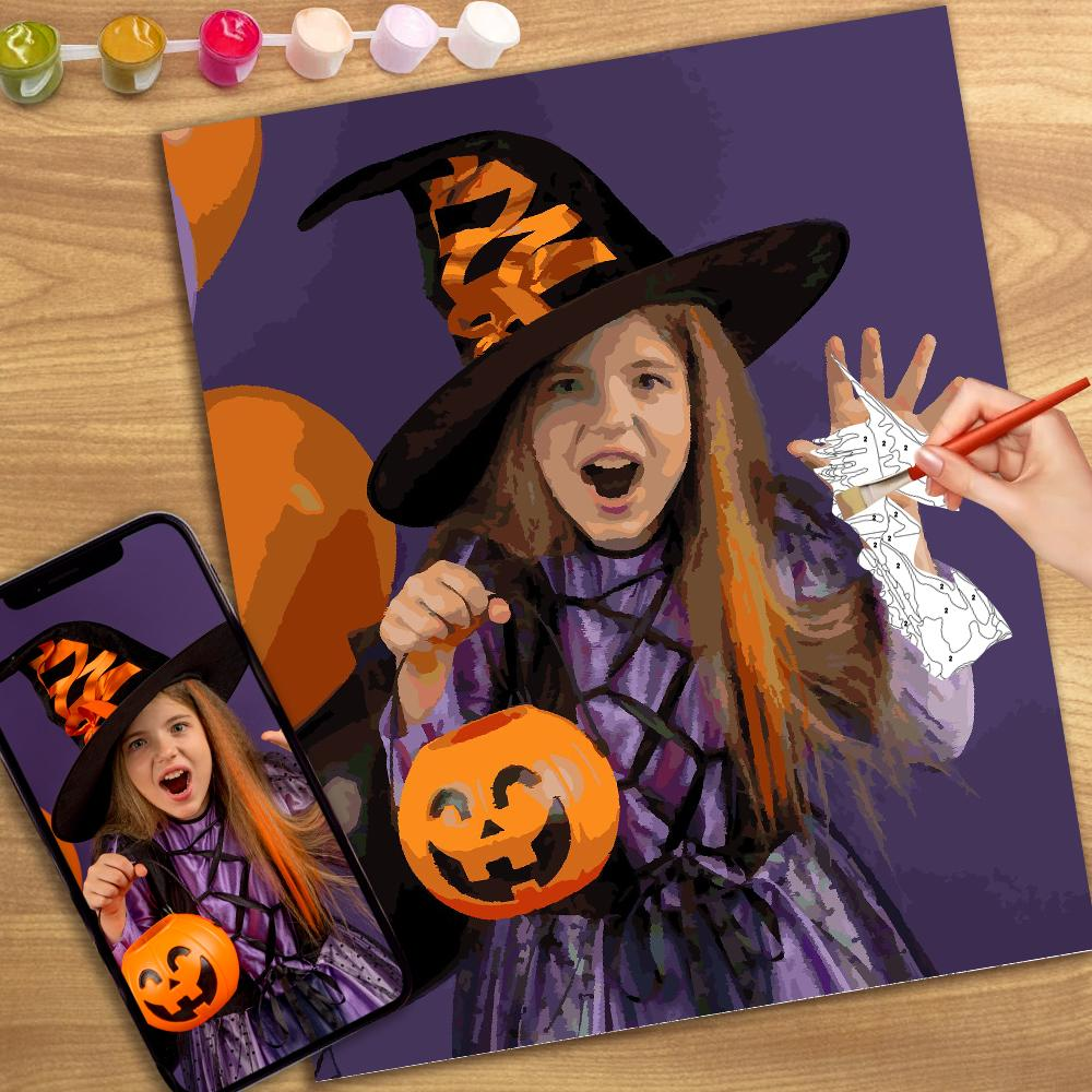 Halloween DIY Paint by Numbers Custom Photo Wall Decor Oil Painting Canvas Personalized Gift