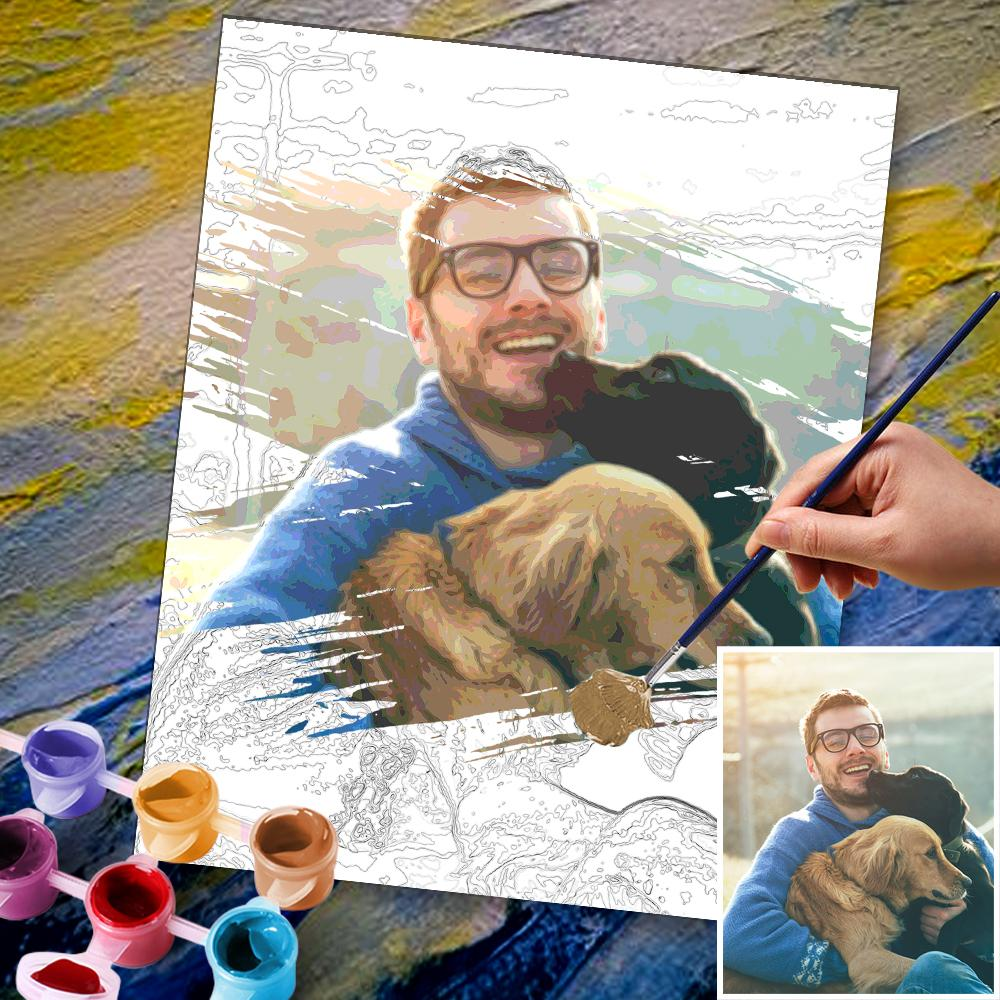 Custom Photo DIY Painting By Numbers Cute Dog 24 Colors - 40*50cm
