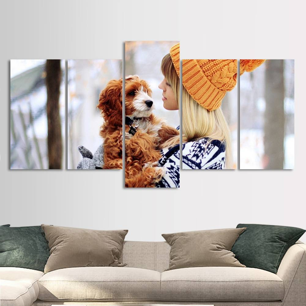 Custom Photo 5pcs Contemporary Painting for Living Room Gifts for Family