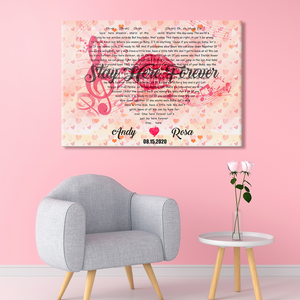Custom Text Song Lyrics Wall Art Decoration Painting Canvas | Best Gift for Wife