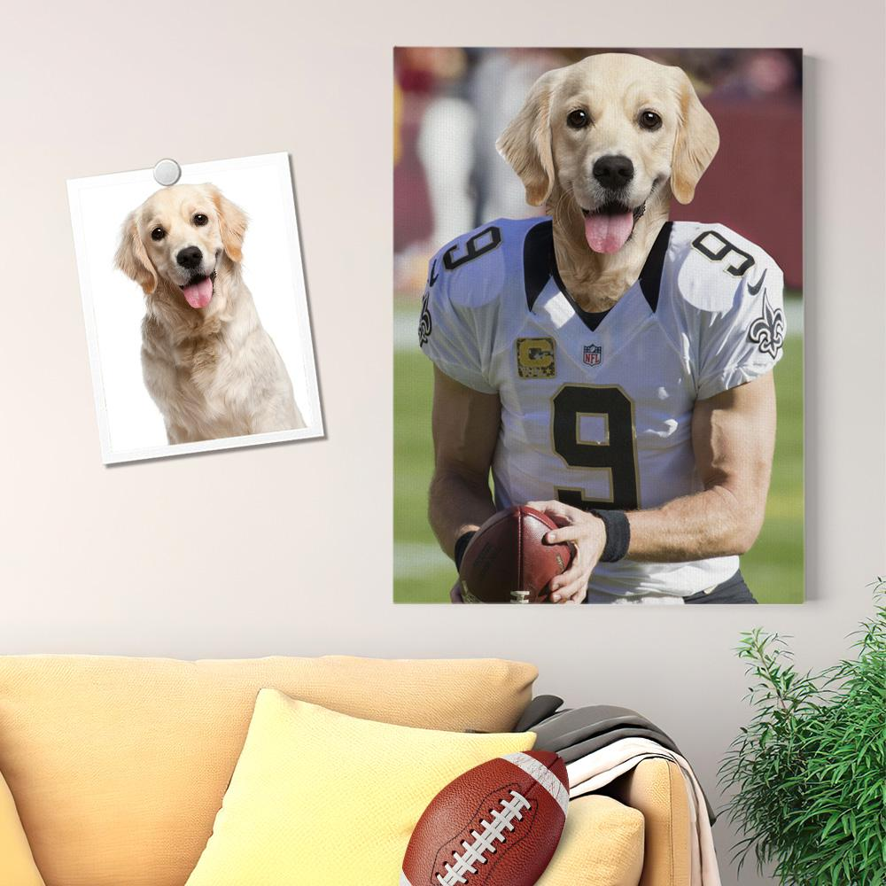 Personalized Photo Super Bowl Pet Portrait Canvas Print Custom Wall Art Home Decor No.9 Jersey