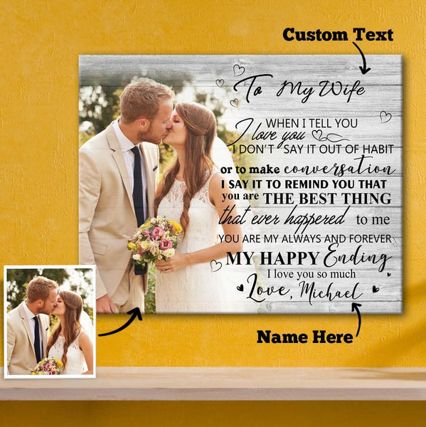 Custom Couple Photo Wall Decor Painting Canvas With Text Horizontal Version - To Lover