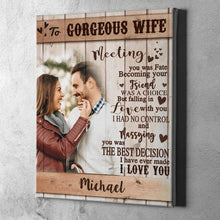 Load image into Gallery viewer, Custom Photo Wall Decor Painting Canvas With Text Vertical Version Anniversary Gift - To Gorgeous Wife