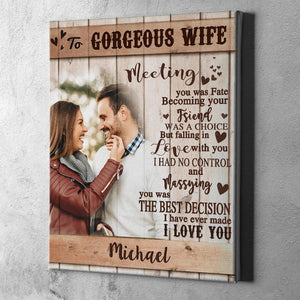 Custom Photo Wall Decor Painting Canvas With Text Vertical Version Anniversary Gift - To Gorgeous Wife
