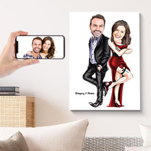 Load image into Gallery viewer, Custom Couple Portrait Caricature Canvas Print Personalized Wall Art Painting Canvas Valentine's Day Gift for Her