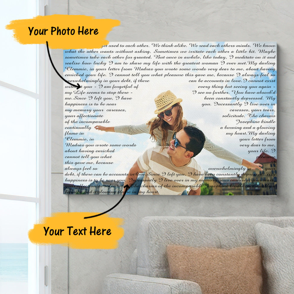 Custom Photo Painting Canvas With Unlimited Text Anniversary Gift for Lover