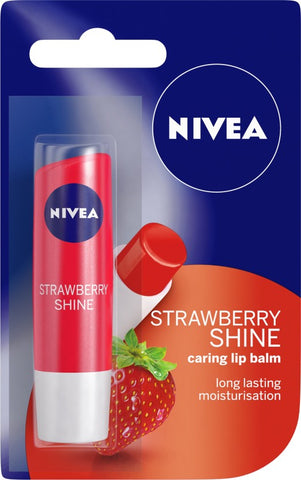 NIVEA Shine Caring Lip Balm Strawberry(Pack of: 1, 4.8 g)