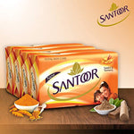 Santoor Sandal & Turmeric Soap for Total Skin Care, 125g (Pack of 4)