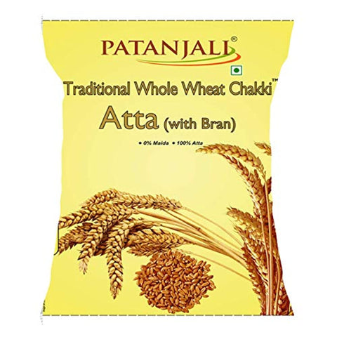 Patanjali Traditional Whole Wheat Chakki Atta with Bran, 5kg