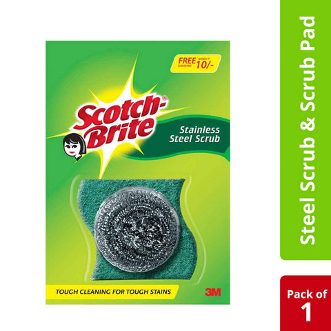 Scotch-Brite® Scrub Pad Small (1pc)  and Steel (1pc) Combo
